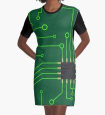 Microchip Digital Art, PCB Graphic T-Shirt Dress