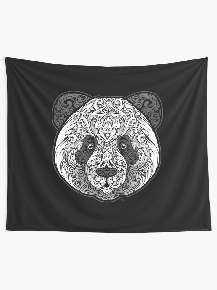 Alternate view of Ornate Panda Tapestry
