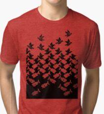 Fish and Birds Art Deco Tessellation Tri-blend T-Shirt