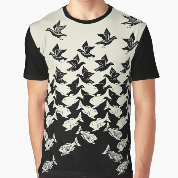 Fish and Birds Art Deco Tessellation Graphic T-Shirt