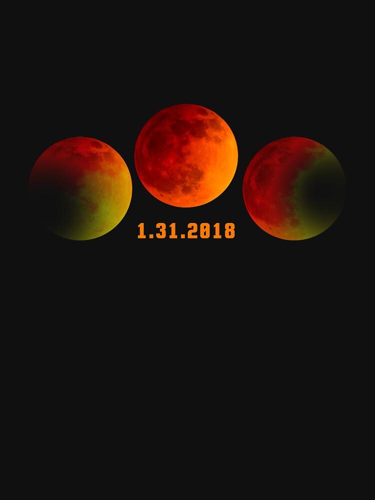 2018 January 31st Total Lunar Eclipse Super Moon T-Shirt by bucksworthy