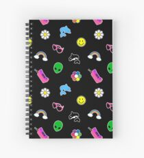 90s Sticker Style! Black Version Spiral Notebook