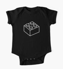 2x2 Legoblock Black pattern Short Sleeve Baby One-Piece