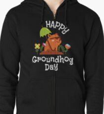 Funny and Awsome Happy Groundhog Day TShirt Zipped Hoodie