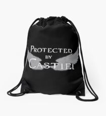 Protected by Castiel White Wings Drawstring Bag