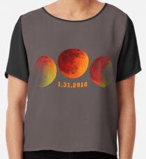 2018 31. Januar Total Mondfinsternis Super Moon T-Shirt Chiffontop