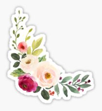 Watercolor Burgundy Pink Flower Bouquet Sticker