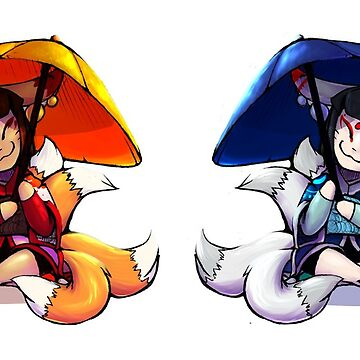 Red and Blue Kitsune Chibis by TeddiBura