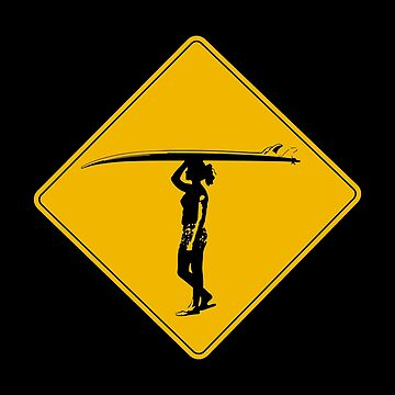 Female Surfer Crossing Warning, Road Sign, California by worldofsigns