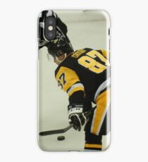Sidney Crosby - Pittsburgh Penguins hockey - face off with puck iPhone Case