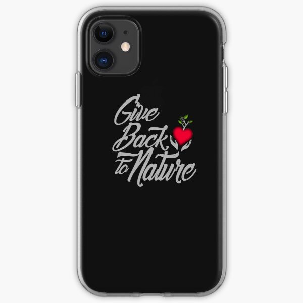 Give Back To Nature Slogan - Black Background iPhone Soft Case