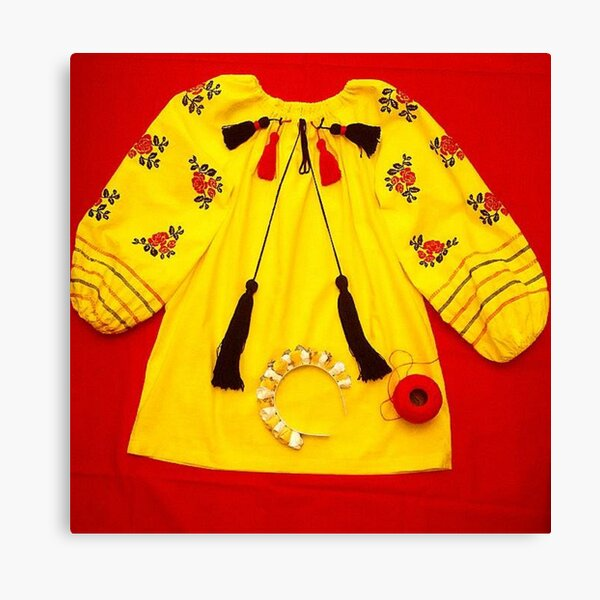colorful shirt with embroidery and pompons Canvas Print