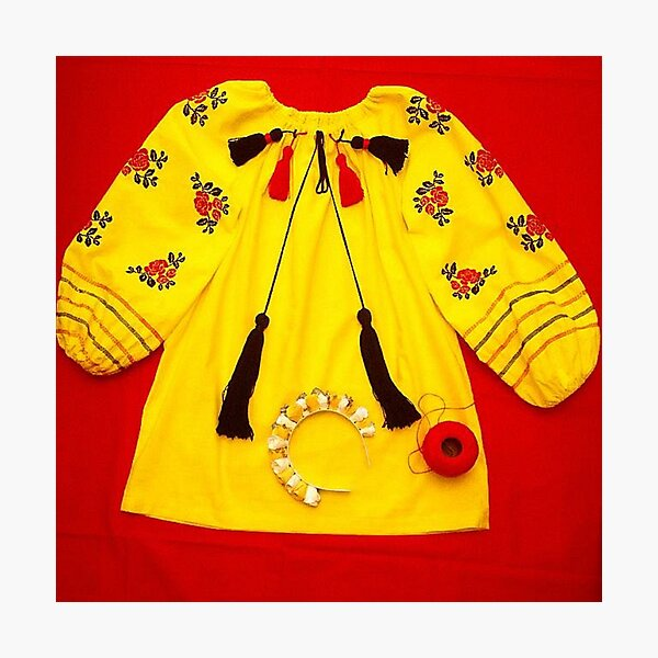 colorful shirt with embroidery and pompons Photographic Print