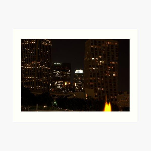 Downtown Los Angeles At Night HDR Art Print