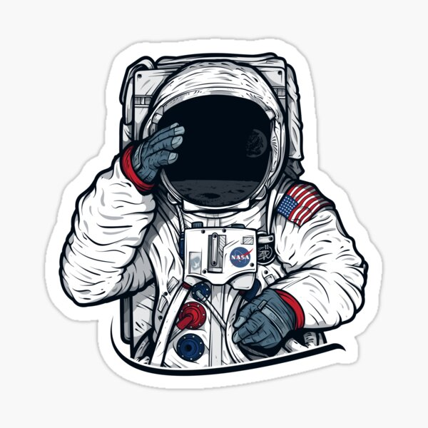 Apollo Lunar Mission Astronaut Illustration (SPACE YO) Sticker