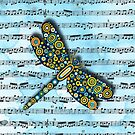 Dragonfly Music Sheet Blue by Lisafrancesjudd