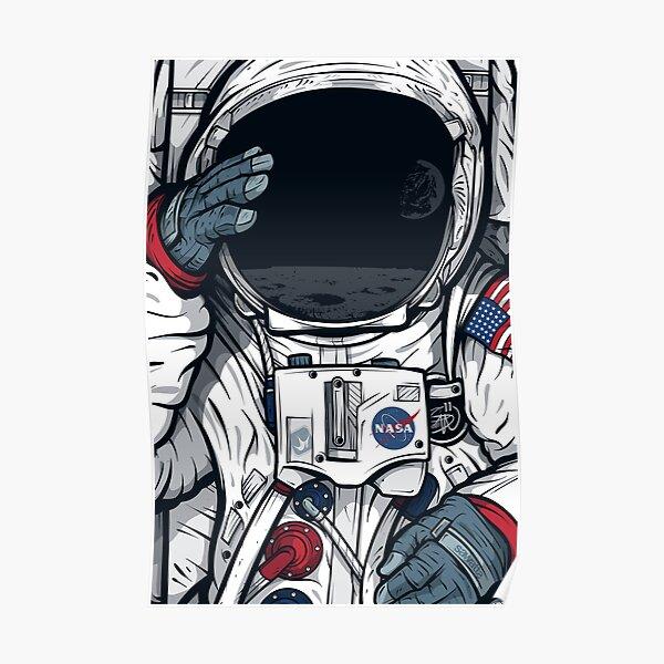 Apollo Lunar Mission Astronaut Illustration (SPACE YO) Poster