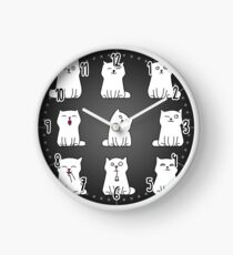 Nine cute white kittens Clock
