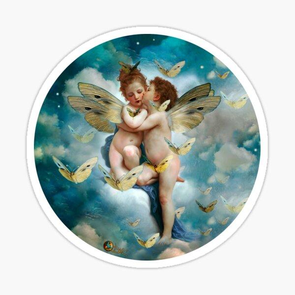 """""""Angels in love in heaven with butterflies""""  Sticker"""