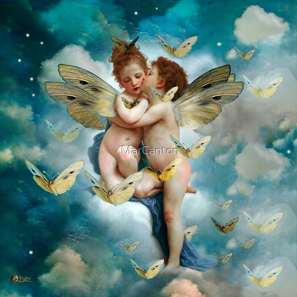 """Angels in love in heaven with butterflies""  by MarCanton"