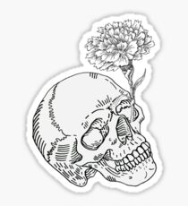 Skull and White Carnation design Sticker