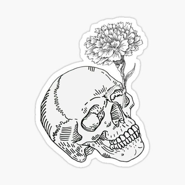 Skull and White Carnation design Sticker