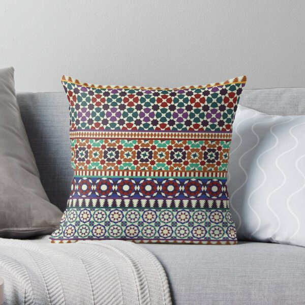 Alhambra Tessellations - red, blue and purple Throw Pillow