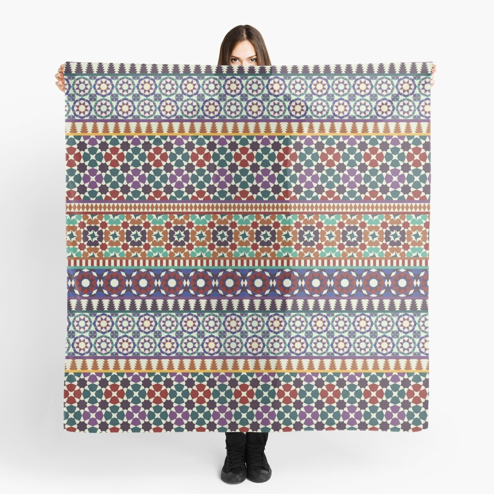 Alhambra Tessellations - red, blue and purple Scarf