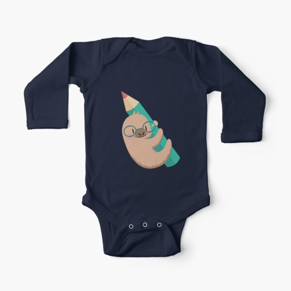 Sloths and pencils Long Sleeve Baby One-Piece
