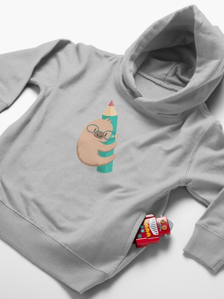 Alternate view of Sloths and pencils Toddler Pullover Hoodie