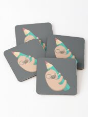Sloths and pencils Coasters
