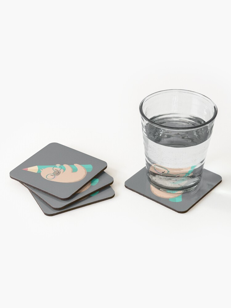 Alternate view of Sloths and pencils Coasters (Set of 4)