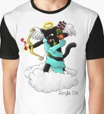 Valentine's Day Coal Black Cupid Cat Graphic T-Shirt