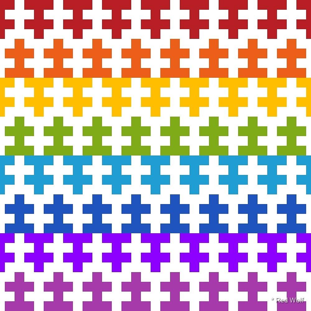 Geometric Pattern: Cross: Rainbow by * Red Wolf