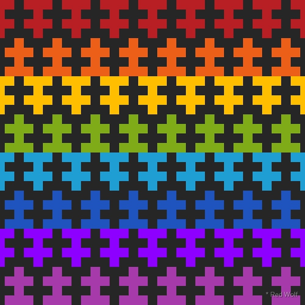 Geometric Pattern: Cross: Rainbow Dark by * Red Wolf