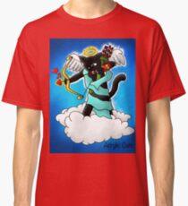 Valentine's Day Coal Black Cupid Cat Classic T-Shirt