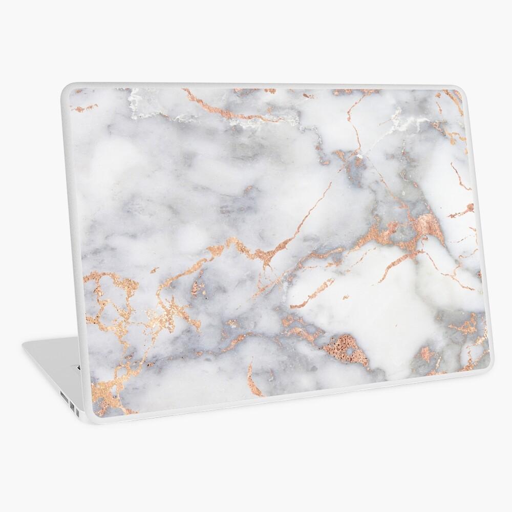 Rosegold Pink Sparkle Faux Marble Laptop Skin