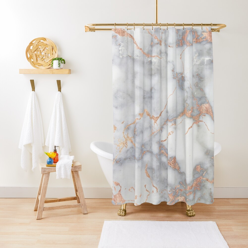 Rosegold Pink Sparkle Faux Marble Shower Curtain