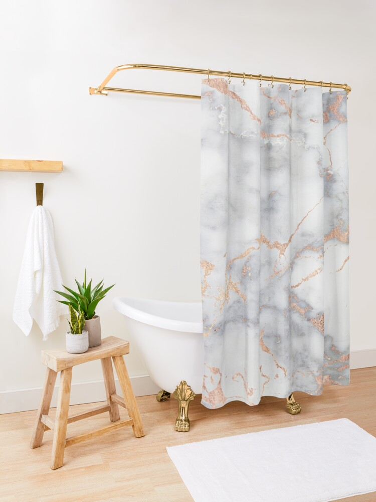 Alternate view of Rosegold Pink Sparkle Faux Marble Shower Curtain