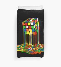 Rainbow Abstraction melted rubiks cube Duvet Cover