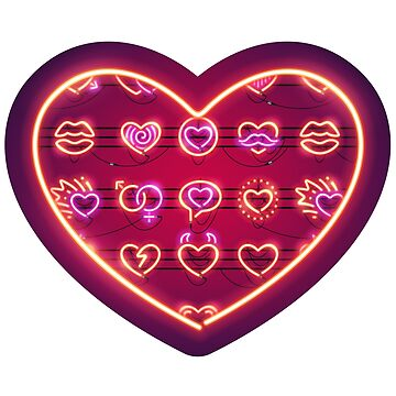 Glowing Neon Hearts Seamless Background by Voysla