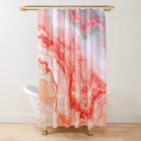 Luxury Rose Gold Agate Marble Geode Gem Shower Curtain