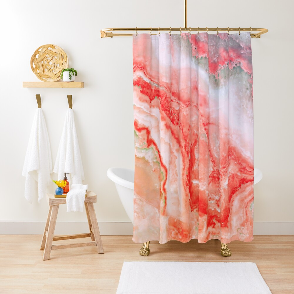Luxury Rose Gold Agate Marble Geode Gem Shower Curtain