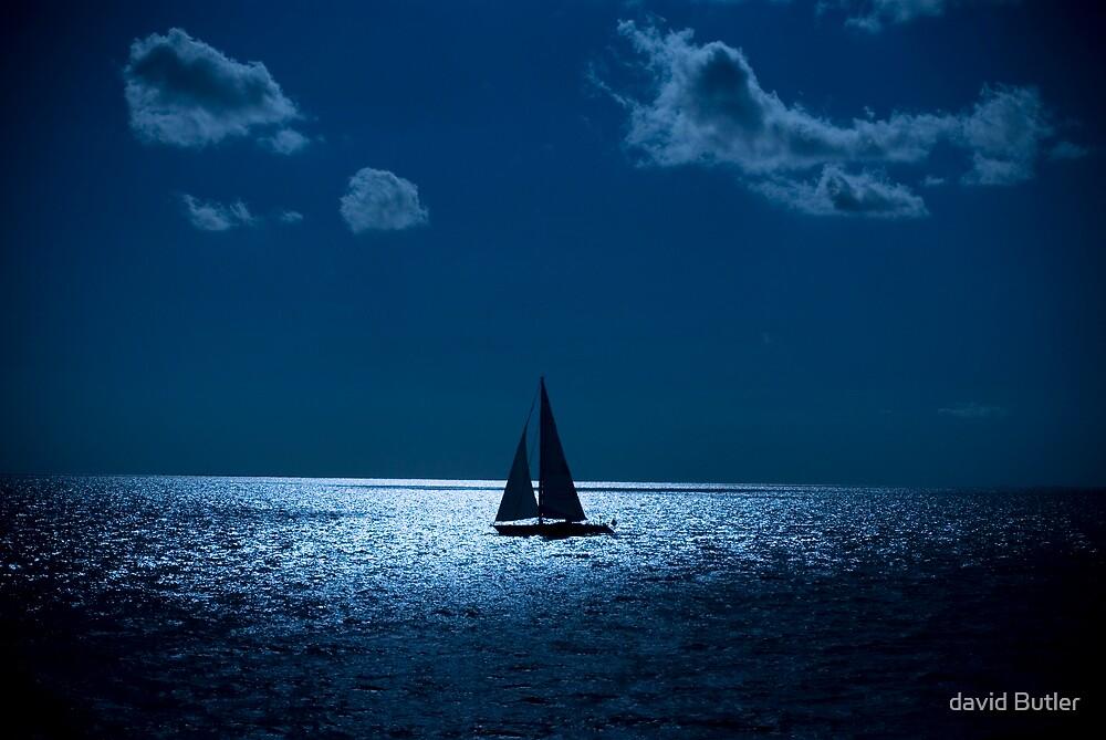 Sailboat At Night by david Butler
