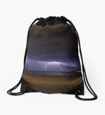 Lightning Storm Over Mumbles Headland Drawstring Bag