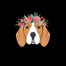 Beagle dog breed with floral crown cute dog gifts pure breed beagles by PetFriendly