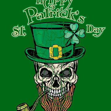 Awesome Happy St Patrick's Day Shirt With A Vintage Skull - Saint Patricks Day Gift by Stella1