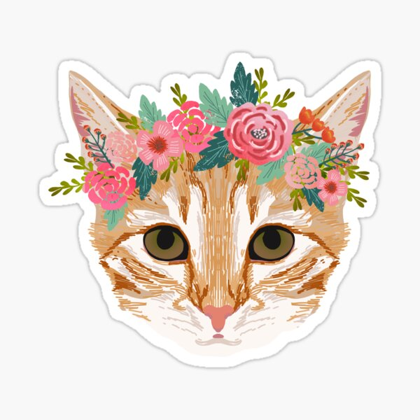 Orange Tabby cat breed with floral crown cute cat gifts cat lady must haves Sticker