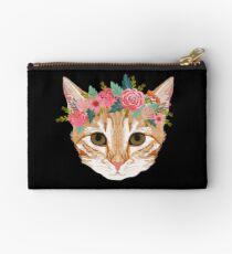 Orange Tabby cat breed with floral crown cute cat gifts cat lady must haves Studio Pouch