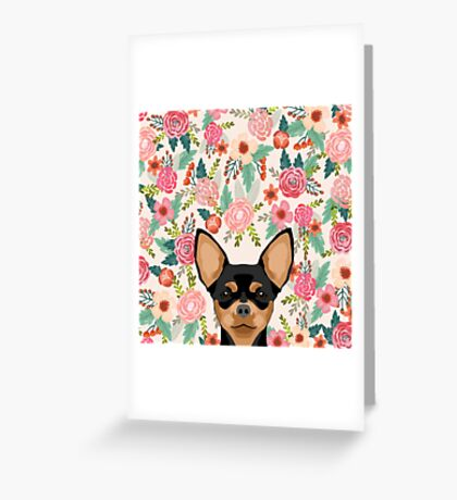 Chihuahua dog floral pet pure breed gifts for chihuahua black and tan Greeting Card